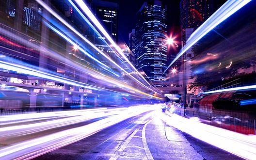 Обои Трасса в огнях ночного города