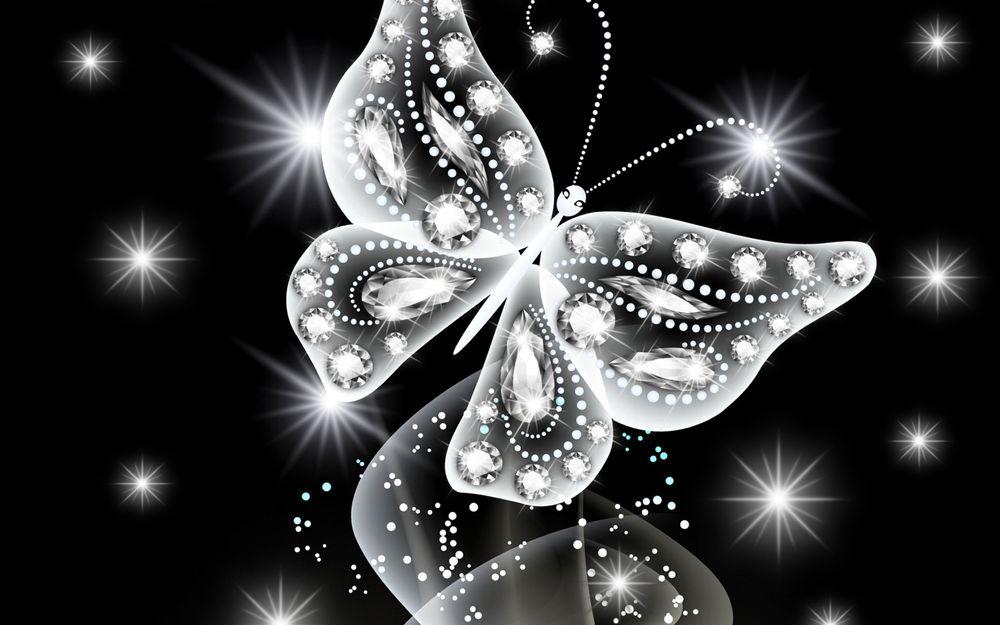 Обои для рабочего стола Белая бабочка с бриллиантами летает на черном фоне