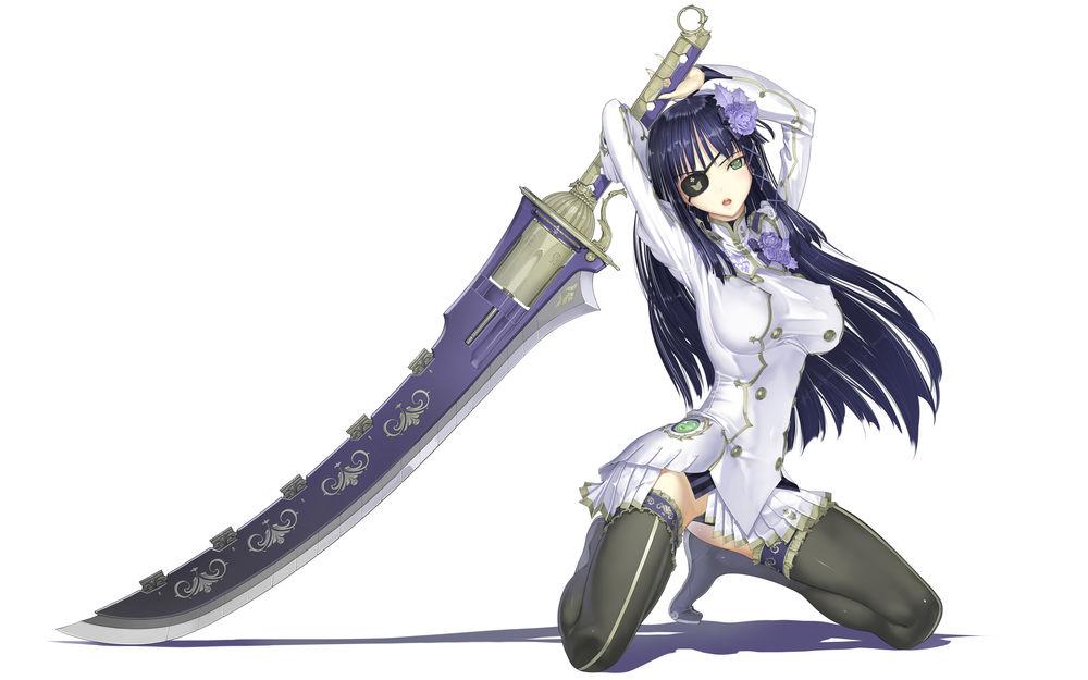 Обои для рабочего стола Nagisa / Нагиса держит в руках большой двуручный меч, персонаж из игры Phantasy Star portable 2 infinity, art by Nakaba Reimei