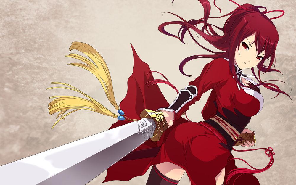 Картинки аниме девушки в красном платье