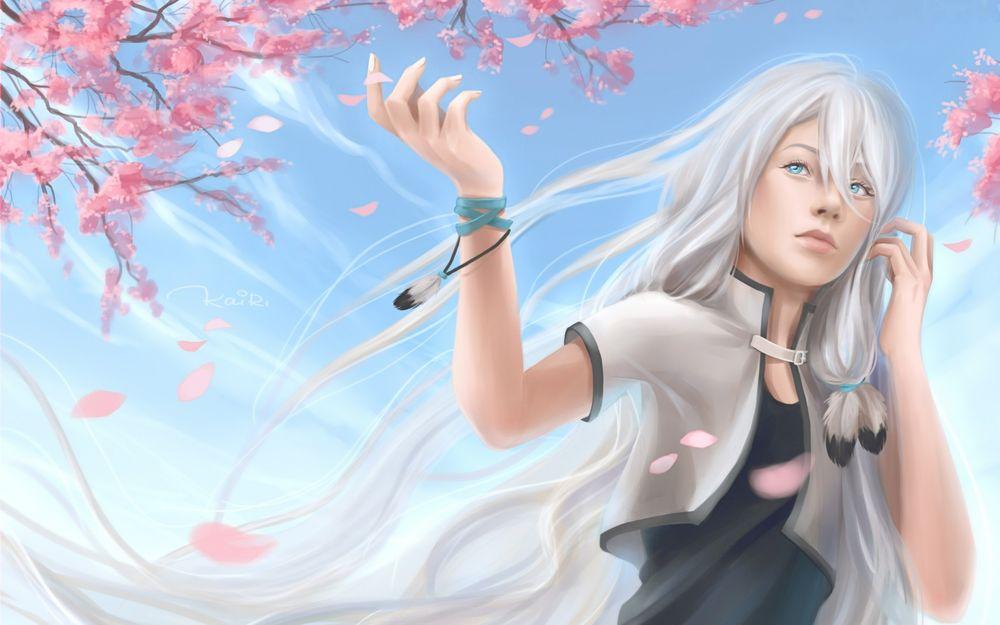 Девушка с белыми длинными волосами