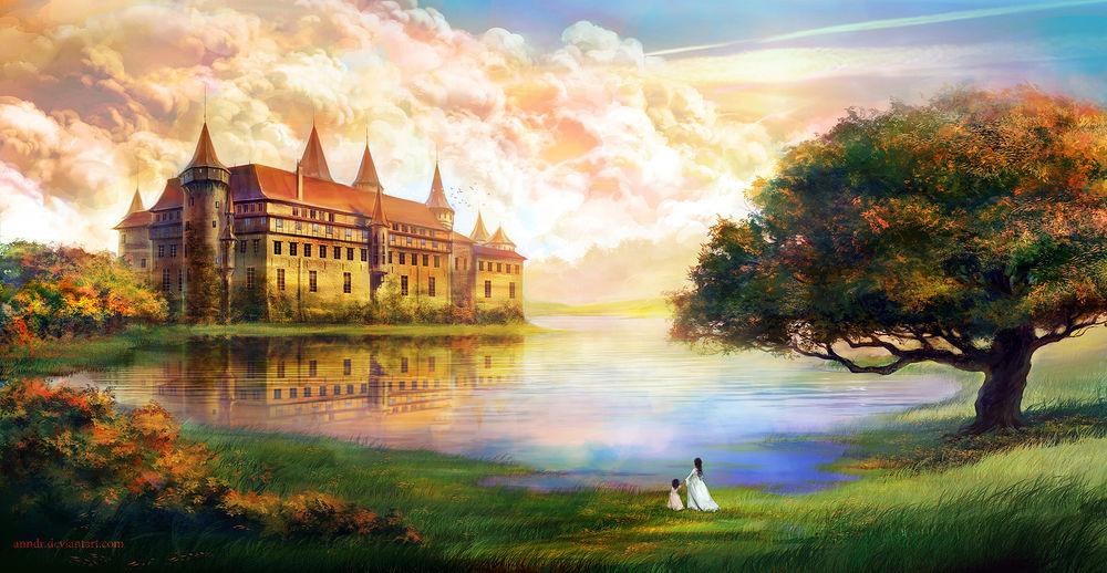 Обои для рабочего стола Девушка с ребенком на берегу озера, на другом берегу стоит замок, art by anndr