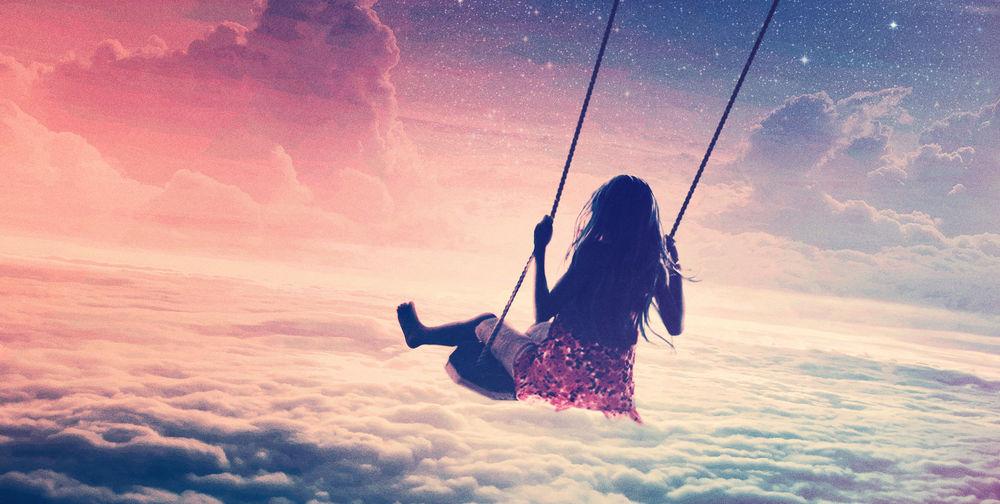 Обои для рабочего стола Девушка катается на качелях на фоне неба, обложка сингла Marcus Schossow – Reverie