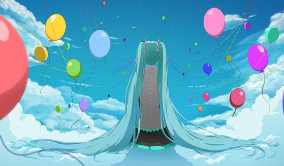 Обои Vocaloid Hatsune Miku / Вокалоид Хатсуне Мику, art by mashunya-chan (i am free now.)