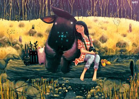 Обои Девочка с фотоаппаратом сидит рядом с веселыми животными, by Raindropmemory