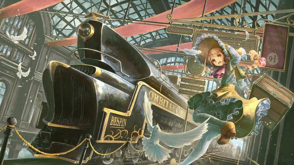 Обои Девушка с чемоданом в руке мчится на поезд