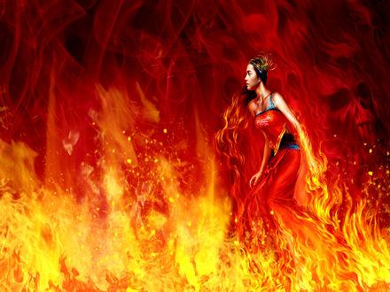 Обои Девушка, охваченная огнем