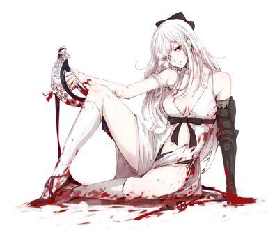 Обои Zero сидит в луже крови с окровавленным мечом в руке, персонаж из игры и манги Drag-On Dragoon, art by Sasa0205