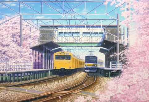 Обои Цветущие деревья сакуры у железнодорожной станции, art by akashikaikyo