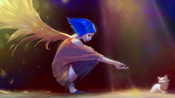 Обои Девушка - ангел с голубыми волосами тянет руку к белому котенку