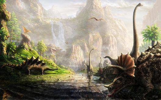 Обои Динозавры возле горной реки