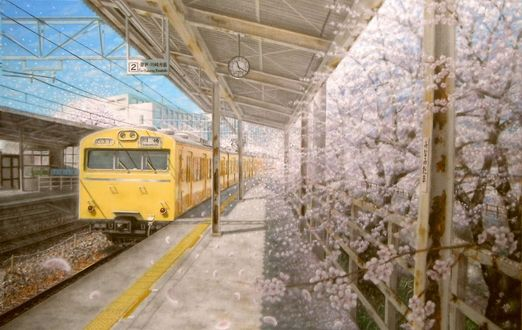 Обои Поезд подъезжает к станции, art by akashikaikyo