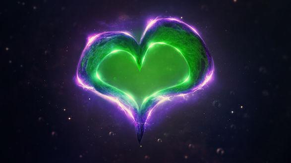 Обои Зеленое сердце на темном фоне