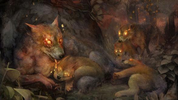 Обои Волчица с горящими глазами, отдыхает у дерева со своими детенышами