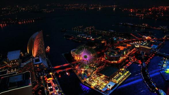 Обои Ночной город Город Йокогама, Япония / Yokohama, Japan