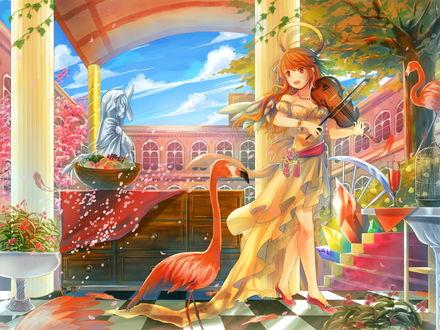 Обои Девушка играет на скрипке, рядом стоит фламинго