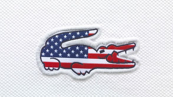 Обои Фантазия на тему логотипа компании Лакосте / Lacoste - американский флаг в форме крокодила