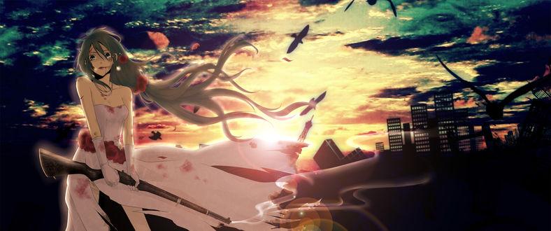 Обои Vocaloid Hatsune Miku / Вокалоид Хатсуне Мику, art by naoko
