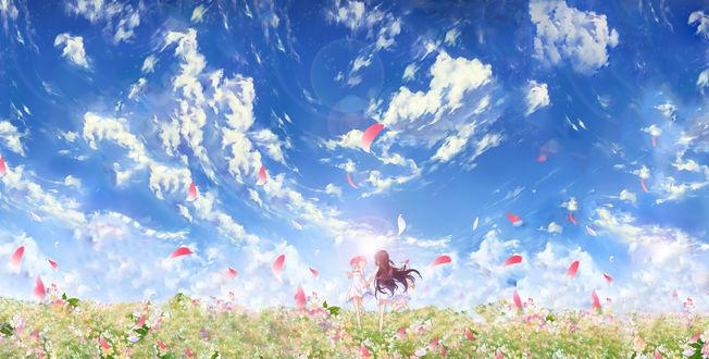 Обои Хомура Акэми / Homura Akemi и Канаме Мадока / Kaname Madoka из аниме Mahou Shoujo Madoka Magica / Девочка-волшебница Мадока Магика