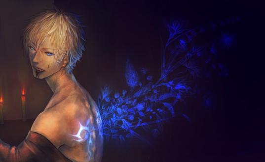 Обои У парня из спины растут цветы, art by slaygun