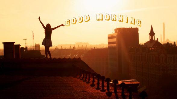 Обои Девушка в стоит на крыше, good morning (доброе утро)