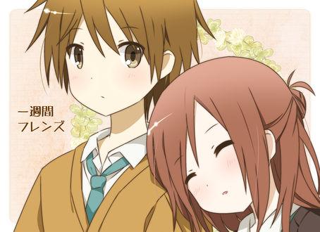 Обои Fujimiya Kaori / Фуджимия Каори и Hase Yuuki / Хасе Юки из аниме Isshuukan Friends / One week friends / Друзья на неделю