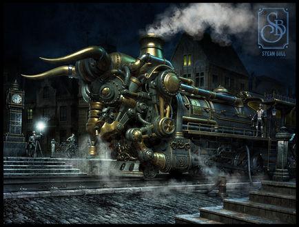 Обои Поезд в виде быка, Steam bull / Механический бык художника Dmitriy Filippov