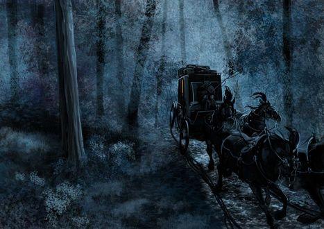 Обои Карета, запряженная черными лошадьми и с возницей без головы мчится по ночному лесу