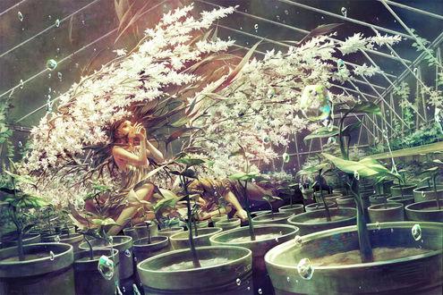 Обои На коленях у девушки, из спины которой растут цветущие ветки, напоминающие крылья, спит парень