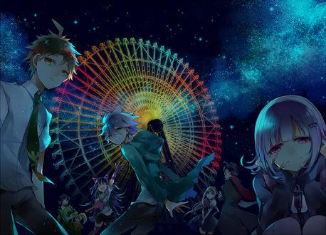 Обои Чиаки Нанами / Chiaki Nanami, Комаеда Нагито / Komaeda Nagito, Миода Ибуки / Mioda Ibuki, Хината Хадзиме / Hinata Hajime, Сониа Неверминд / Sonia Nevermind, Соуда Казуичи / Souda Kazuichi, Танака Гундам / Tanaka Gundam и Сайонджи Хиеко / Saionji Hiyoko из игры Академия отчаяния / Dangan Ronpa