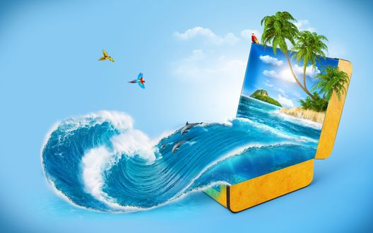 Обои Из желтого чемодана вырывается волна с дельфинами и открывается тропический мир