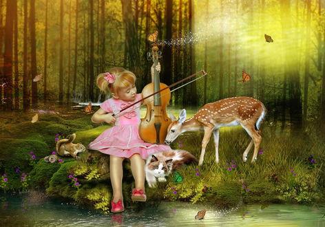 Обои Белокурая девочка, сидящая на берегу лесного ручья, держащая в руке скрипку водит по струнам смычком в окружении кота, олененка и белки на фоне порхающих бабочек