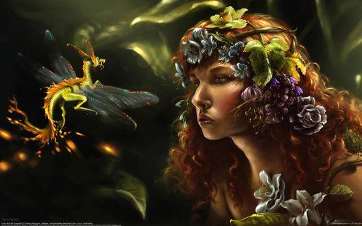 Обои Рыжая девушка в цветах с маленьким драконом