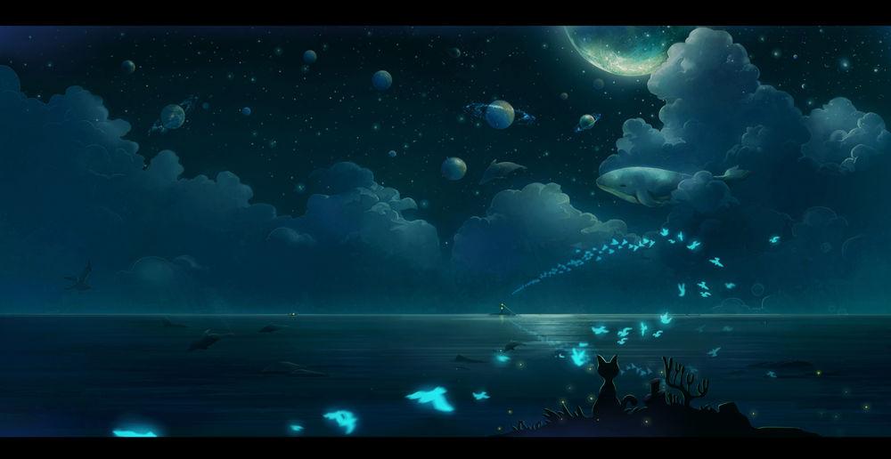 Обои для рабочего стола Кошка сидит на берегу моря, наблюдая за птицами, летящими со стороны маяка, и дельфинами на фоне ночного неба, в котором среди облаков парит кит, art by bingzhoushi