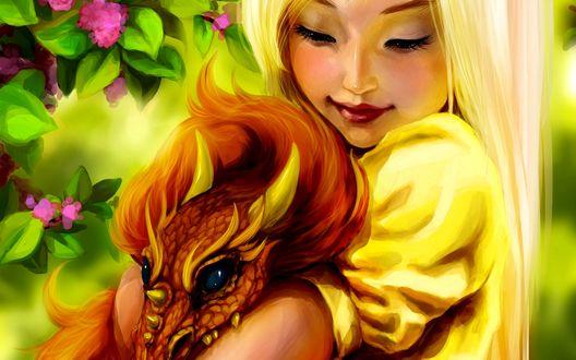 Обои Девушка обнимающая дракона