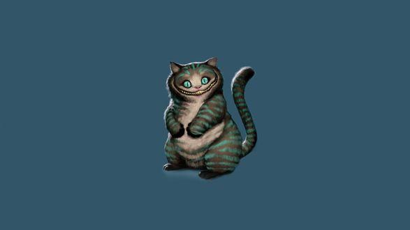 Обои Чеширский кот на сером фоне