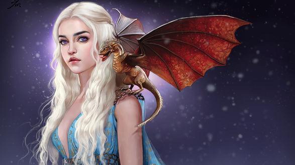 Обои Дейенерис Таргариен / Daenerys Targaryen с драконом на плече, арт к сериалу Игра престолов / Game of Thrones