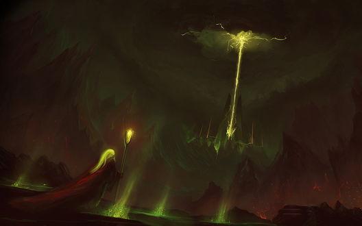 Обои Седоволосый старец с посохом в руке, стоящий на берегу горного озера любуется разрядами молний, сверкающих в ночном небе