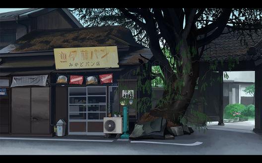 Обои Небольшой магазин около дома