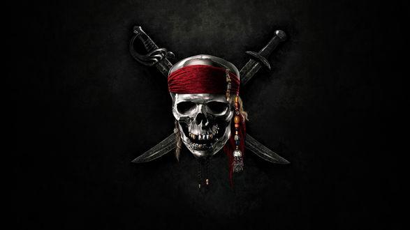 Обои Пиратский череп с двумя саблями на черном фоне