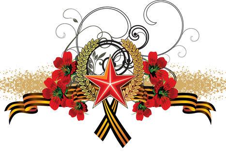 Обои Георгиевская ленточка на белом фоне с красными цветами