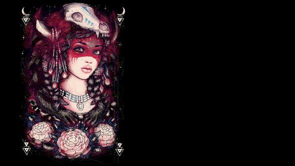 Обои Девушка на черном фоне стоит в платье с разными рисунками, на голове красная вуаль