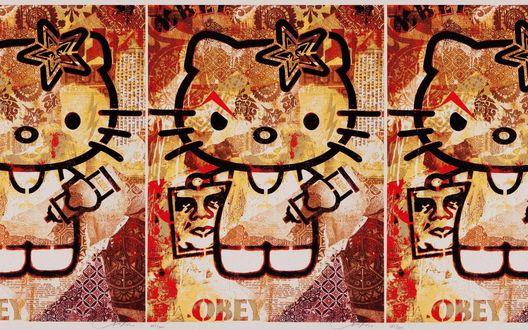 Обои Злая Hello Kitty с надписью Оbey