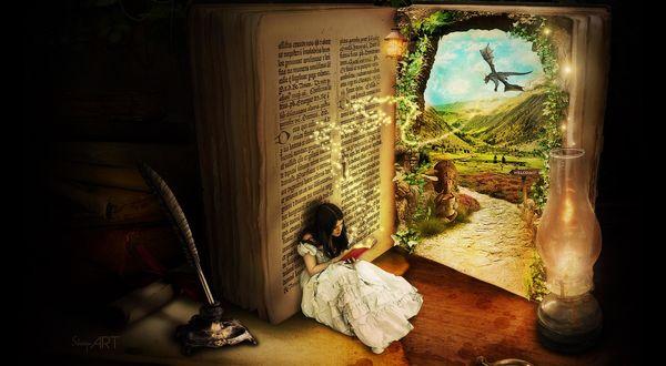 Обои Девушка читает книгу, которая открывает ей дверь в сказочную страну, художник Shayn