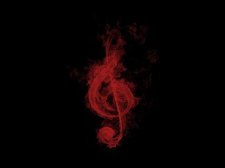 Обои Красный музыкальный ключ на черном фоне