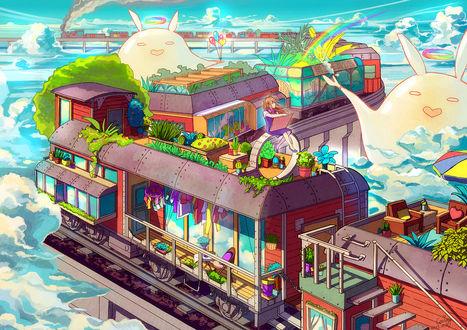 Обои Девушка сидит на вагоне поезда, которой едет среди облаков, рядом с поездом радостные милые существа