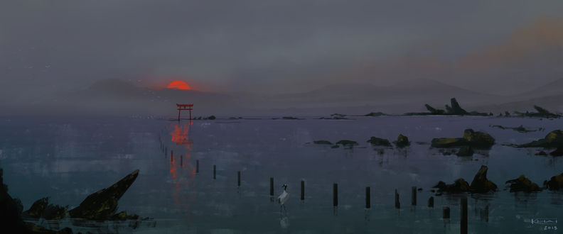 Обои Тории (ритуальные врата) в воде на фоне заката