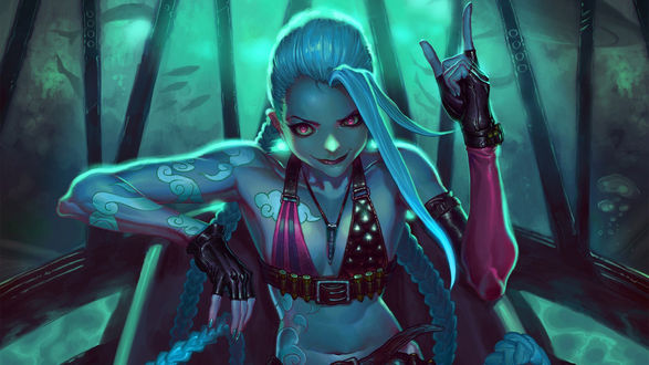 Обои Jinx / Джинкс, персонаж из игры League of Legends / Лига легенд