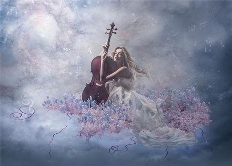 Обои Светловолосая девушка в длинном, белом платье, держащая в руках виолончель, сидящая на облаке в окружении цветов, парит в небе на фоне нотных знаков, автор Nataliorion