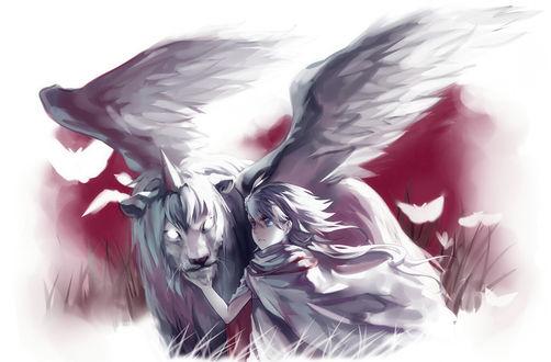 Обои Девушка и крылатый лев с рогом во лбу, art by rifsom